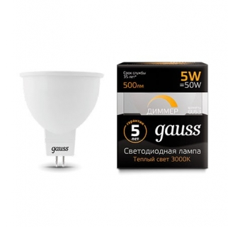 Диммируемая лампа Gauss LED MR16 GU5.3-dim