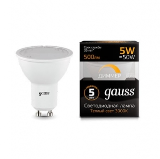 Диммируемая лампа Gauss LED MR16